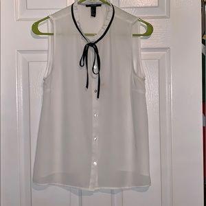 White Button Down Blouse with Black Neck Tie